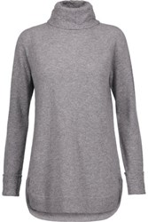 Magaschoni Cable Knit Cashmere Turtleneck Sweater Gray