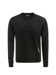 Markus Lupfer Khaki And Charcoal 3 Colour Graphic Cable Jacquard David Jumper Black