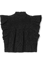 Ganni Cropped Ruffled Broderie Anglaise Cotton Top Black