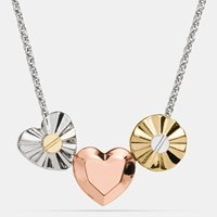 Coach Short Daisy Rivet Heart Locket Necklace Silver Multicolor