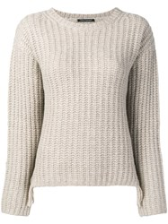 Luisa Cerano Fringed Sides Jumper Nude And Neutrals