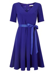 Jacques Vert Crepe Fit And Flare Dress Blue