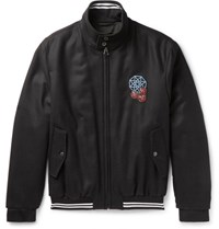 Lanvin Appliqued Wool Twill Bomber Jacket Black
