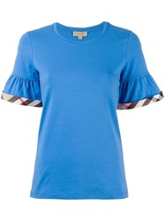 Burberry Peplum Sleeve T Shirt Blue