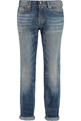 R 13 Relaxed Mid Rise Straight Leg Jeans Blue