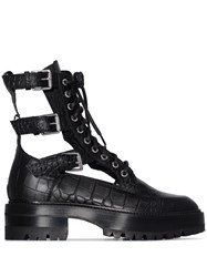 Amiri Black Snakeskin Embossed Cutout Leather Combat Boots