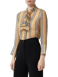 Burberry Icon Striped Sheer Mulberry Silk Shirt Beige