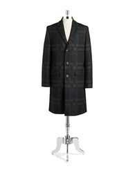 Tiger Of Sweden Plaid Wool Blend Coat Charcoal