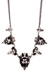 Spring Street Crystal Stone Statement Necklace Black