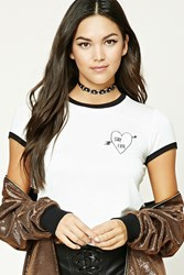 Forever 21 Stay Cute Graphic Ringer Tee White Black
