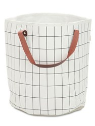 Ferm Living Grid Hand Printed Small Laundry Basket White