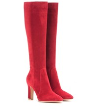 Gianvito Rossi Arlay 85 Suede Knee High Boots Red