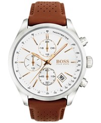 Boss Hugo Men's Chronograph Grand Prix Brown Leather Strap Watch 44Mm 1513475