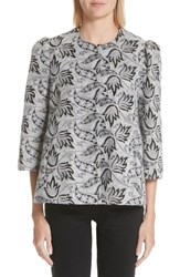 Co Embroidered Jacquard Swing Jacket Grey