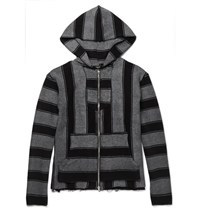 Amiri Baja Striped Cotton Terry Zip Up Hoodie Black
