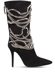 Giuseppe Zanotti 105Mm Chains And Crystals Suede Boots Black