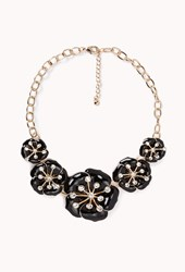 Forever 21 Lacquered Floral Bib Necklace