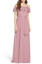 Ceremony By Joanna August Women's Ruffle Off The Shoulder Chiffon Gown