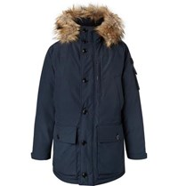 J.Crew Nordic Faux Fur Trimmed Canvas Hooded Parka Navy
