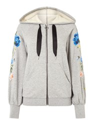 Sportmax Code Rolf Embroidered Hoody Grey