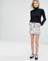 Outstanding Ordinary Faux Leather Mini Skirt In Metallic Silver Silver