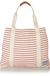 Soludos Striped Cotton Canvas Tote Red