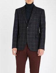 Emporio Armani Regular Fit Checked Wool Blend Jacket Blue