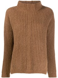 Luisa Cerano Turtleneck Ribbed Jumper Brown