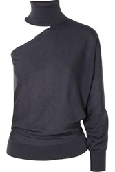 Brunello Cucinelli One Shoulder Cutout Cashmere And Silk Blend Turtleneck Sweater Anthracite