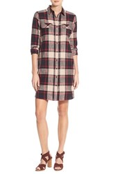 Caslonr Petite Women's Caslon Plaid Cotton Two Pocket Shirtdress Red Plaid
