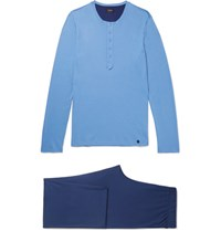 Hanro Cotton Jersey Pyjama Set Blue