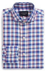 Men's Big And Tall Ledbury 'Wheatley' Classic Fit Plaid Dress Shirt Blue Red White