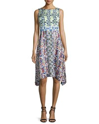 Peter Pilotto Sleeveless Scribble Print Arched Hem Dress Lime Green Size 2