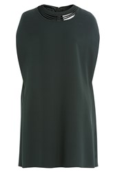 Valentino Silk Cape Dress Green