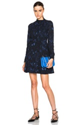 Valentino Butterfly Printed Georgette Dress In Blue Animal Print