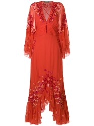 Roberto Cavalli Floral Embroidered Frill Trim Maxi Dress Yellow And Orange