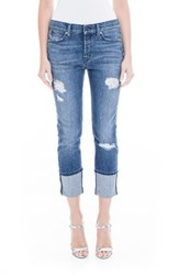 Level 99 Women's Morgan Stretch Distressed Wide Cuff Straight Leg Jeans