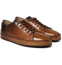 Santoni Burnished Leather Sneakers Brown