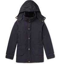 Dunhill Wool Hooded Field Jacket With Detachable Shearling Lining Navy
