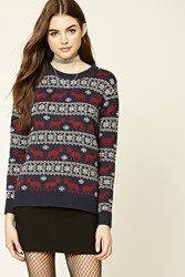 Forever 21 Elk Fair Isle Sweater Navy Burgundy