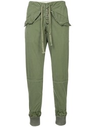 Greg Lauren Tapered Trousers Green