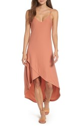 Love Fire Strappy High Low Dress Coral Orange