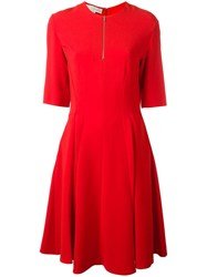 Stella Mccartney Pleated Zip Collar Dress Red