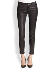 The Kooples Leather Skinny Ankle Jeans Black