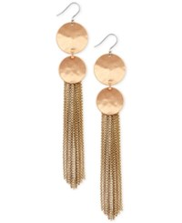 Lucky Brand Double Disc Chain Tassel Drop Earrings Gold