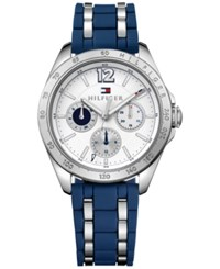 Tommy Hilfiger Women's Sophisticated Sport Two Tone Silicone And Stainless Steel Strap Watch 36Mm 1781662 Silver