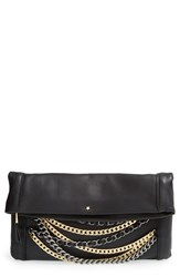 Ash 'Domino' Chain Foldover Leather Clutch Black Black Silver And Matte Gold