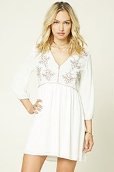 Forever 21 Contemporary Floral Swing Dress Ivory