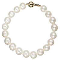 A B Davis Freshwater Lustre Pearl Knotted 7.5' Bracelet With Gold Clasp
