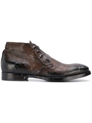 Silvano Sassetti Textured Lace Up Derby Shoes Brown